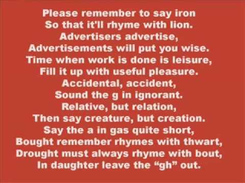 Pronunciation Poem