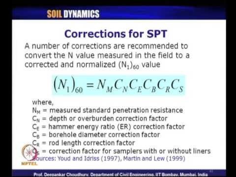 Mod-04 Lec-23 L23-Cyclic Stress Ratio, Evaluation of CRR, Correction Factors, Corrections for SPT