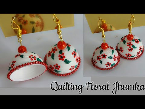 Quilling Floral Jhumka/Quilling New Design Jhumka/How to make Painted Designer Quilling Jhumka