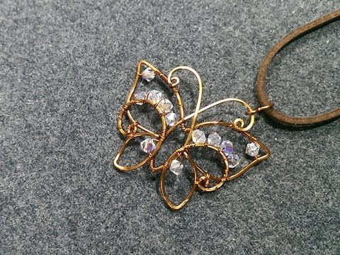 Copper wire Butterfly pendant with crystal - DIY wire jewelry 172