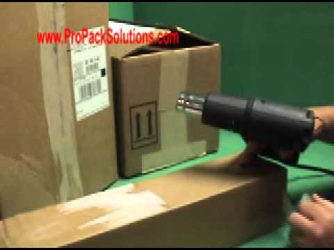 Heat guns removing tape and labels
