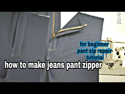 how to make jeans pant zipper || for beginner pant zip repair tutorial