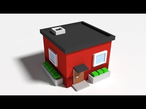 Blender Low Poly House Timelapse