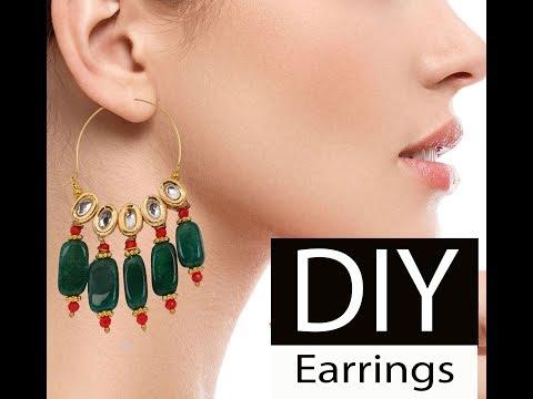 DIY how to make bollywood designer kundan pearl hoop earrings at home jewellery making tutorial