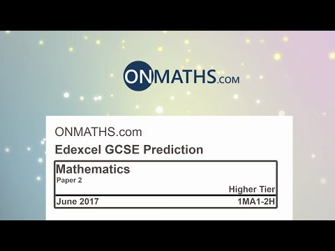 2017 Edexcel Paper 2 Predicted Higher Maths GCSE Paper for Calculator Exam 1MA1/2H