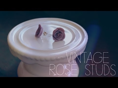 POLYMERCLAY: Vintage Rose Stud Earrings