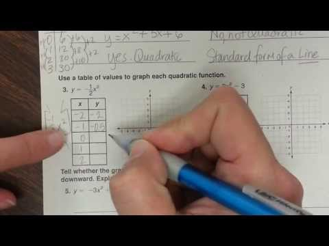 WB pg. 60 Section 9-1, Identifying Quadratic functions Notes