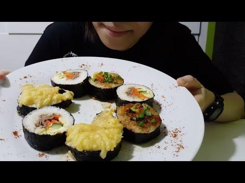 Assorted Kimbap / Gimbap | Korean Sushi : ASMR ( Cooking & Eating Sounds )