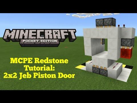 Minecraft Pocket Edition Redstone Tutorial: 2x2 Jeb Piston Door (MCPE 0.16.1)