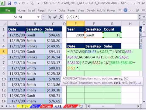 Excel 2010 Magic Trick 671: AGGREGATE function Array Formula #5 Extract Records 2 criteria