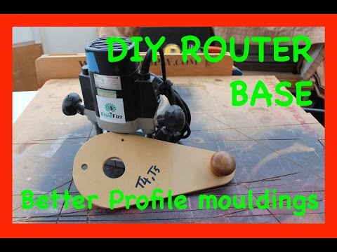 DIY Offset router base: Shop made router jig for easy bearing guided profile edge moulding projects