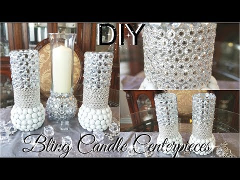 DIY BLING CENTERPIECE CANDLE HOLDERS WITH KINGSO DIAMOND MESH WRAP PETALISBLESS 🌹