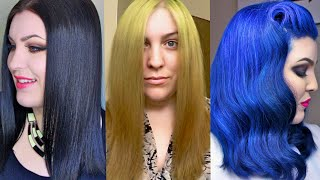 Hair Transformation Box Dye Black To Blonde To Blue The Healthy Way A