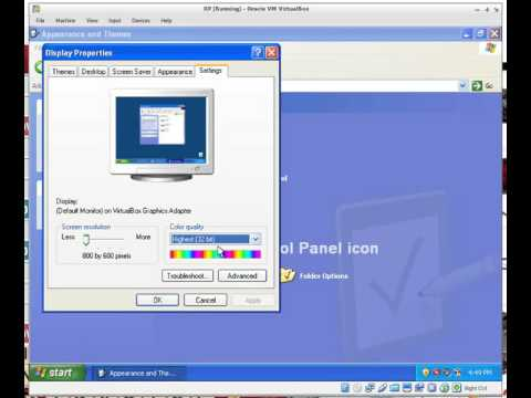 Setting Windows XP to 256 color mode