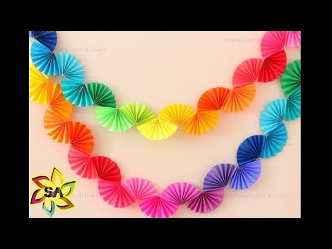 DIY Paper Rainbow Fan Garland for Party Decor | Paper Craft decoration idea