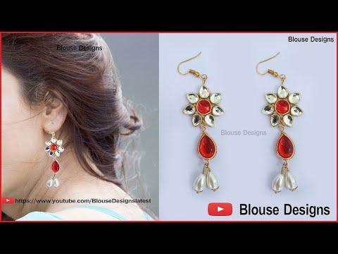 make your own earrings, how to make earrings at home, Designer Fancy Bridal Earrings