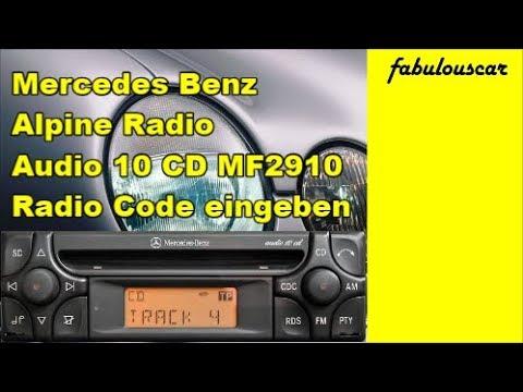 Radio Code Entry Eingabe enter eingeben | Mercedes Benz Alpine Radio Audio 10 CD MF2910