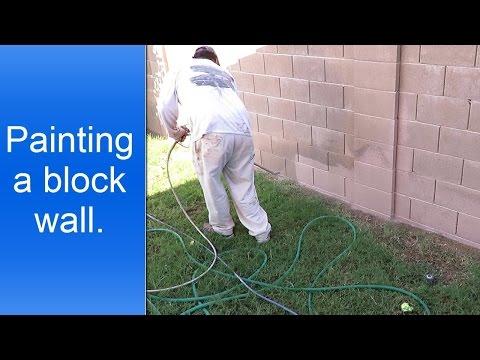 Painting exterior cinder block walls.