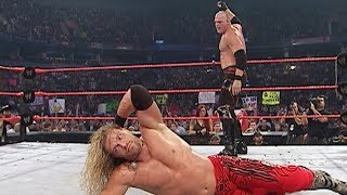 A sneak attack from another Superstar helps Edge take down Kane: Raw, Aug. 16, 2004