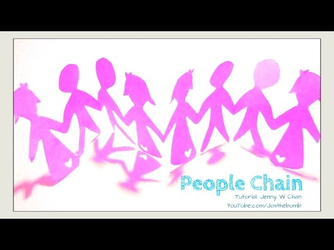 Paper Crafts - DIY Paper Doll & People Chain - Kirigami Dolls Holding Hands