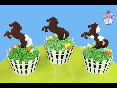 How to Make HORSE CUPCAKES! Simple Spring Pony Race Cupcakes | My Cupcake Addiction
