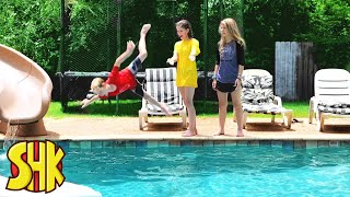 SuperHeroKids She Doesn't Know How To Swim   Funny Family Videos Compilation
