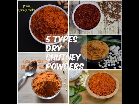 5 Types of Easy Dry Chutney Powders Recipe | South Indian Style Healthy Chutney Powder
