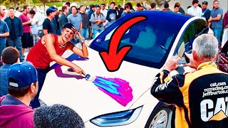 I Customized my TESLA in PUBLIC!! 🎨 🚗 [GIVEAWAY]