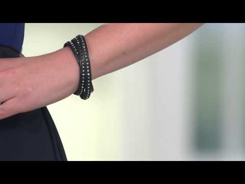Stainless Steel Crystal Leather Wrap Magnetic Clasp Bracelet with Shawn Killinger