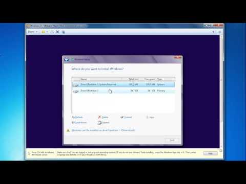VMWare Player - Installing Windows 8 64-Bit