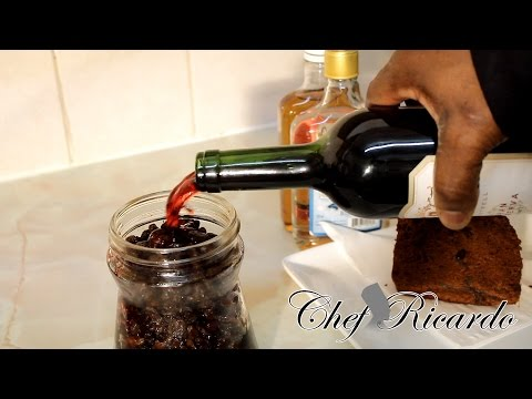 Chef Ricardo Cooking Shows - Soaking Your Jamaican Rum Cake  Fruit For ,1 Years Best in the word  beautiful Caribbean Cake