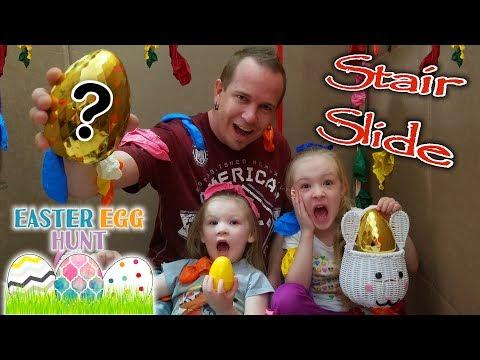 Ultimate Stair Slide Easter Egg Scavenger Hunt & Popping 1000 Balloons in HUGE Box Fort!!