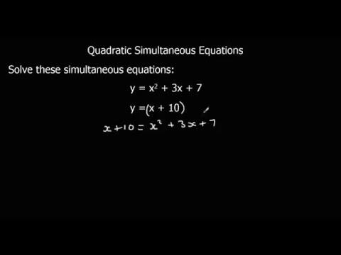 Solving Quadratic Simultaneous Equations