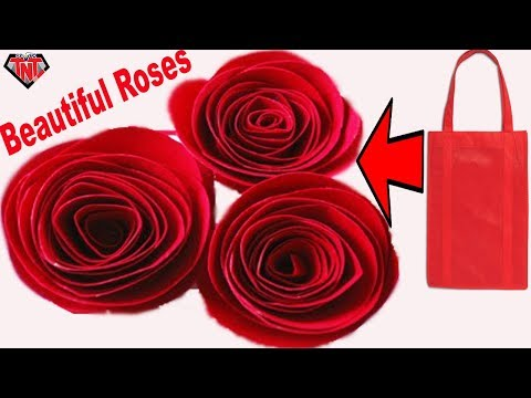 DIY Fabric Bag Awesome Rose || How To Make Rose Using Tote Bag