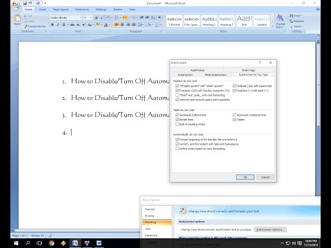 How to Turn Off/Disable Automatic Numbering in MS Word
