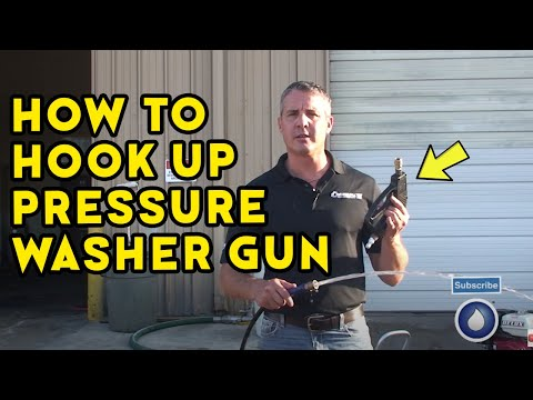 How to Hook Up a Pressure Washer Gun When the Machine is at Full Load