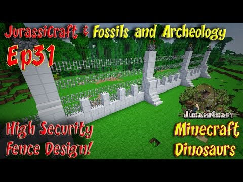 Jurassicraft & Fossils and Archeology Mod Jurassic World Ep31 High Security Fence Design