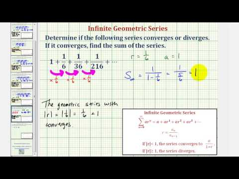Ex: Determine if an Infinite Geometric Series Converges or Diverges Given Terms in the Series