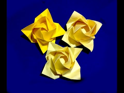 Origami rose - flower. Ideas for gift decor. Fukuyama Rose. Ideas for Christmas