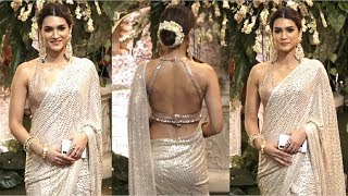 Kriti Sanon BEAUTIFUL In BACKLESS Saree At Mukesh Ambani Ganpati 2019