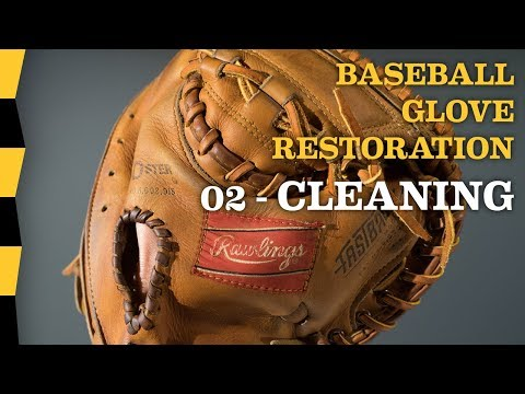 How To Clean Leather of Vintage Baseball Glove - 02 CLEANING - DIY Baseball Glove Repair