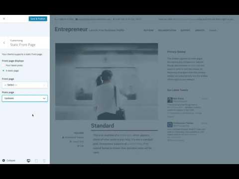 Entrepreneur WordPress Theme: Setting a Static Front Page (Step 4)