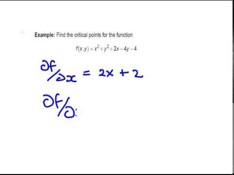 Partial Derivatives   Critical Points