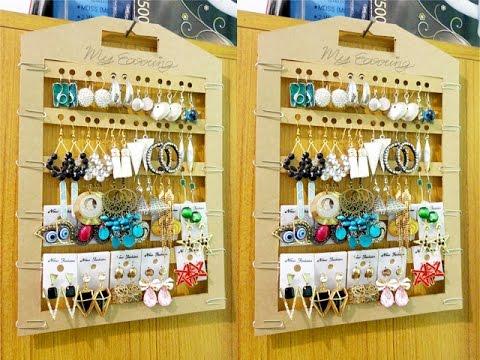 IDEA / How to / DIY earring holder from paper วิธีทำที่เเขวนตุ้มหูจากกระดาษ
