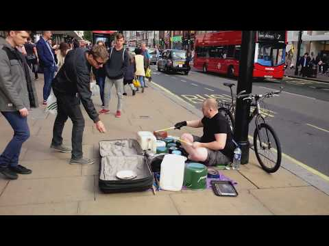Amazing Street Drummer Performing on Buckets, Pots & Pans | Oxford Street, London 2017