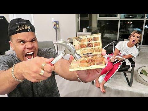 DESTROYING MY GIRLFRIEND'S MAKEUP!! (REVENGE PRANK) *$10,000 MAKEUP*
