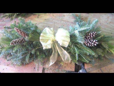 How To Make A Swag Christmas out of Pine Tree Branches Spruce Cedar School Fundriaser Ideas