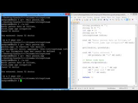 Programming example: Input string stream