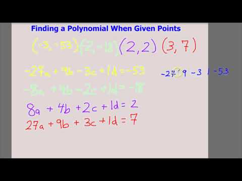 Finding a Polynomial When Given Points