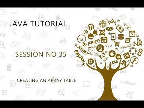 JAVA TUTORIAL  35   CREATING AN ARRAY TABLE